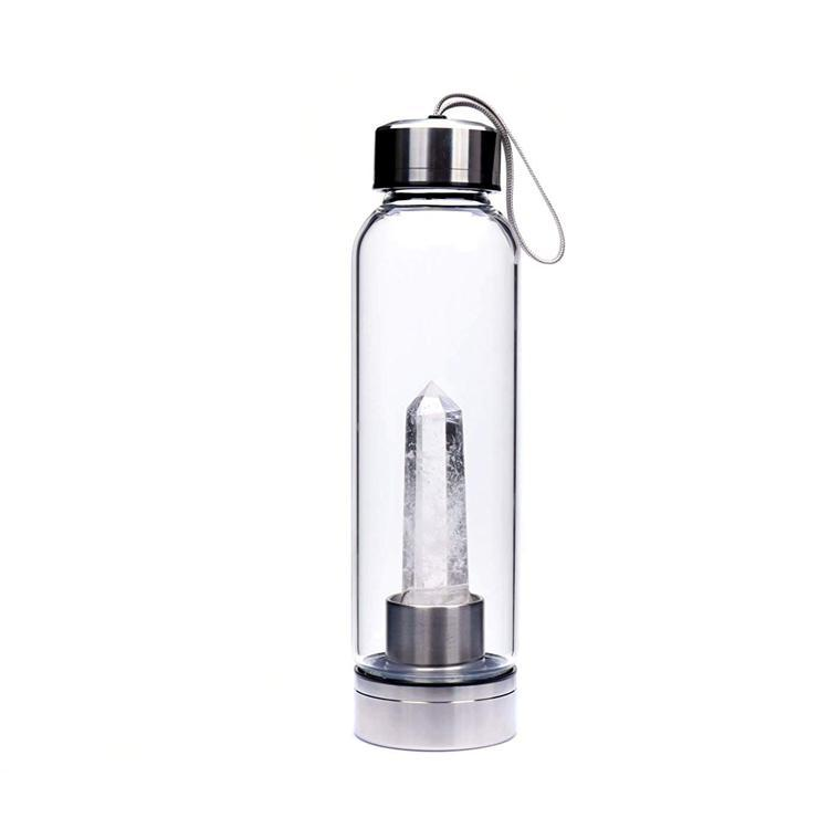 Crystal water bottle with Clear Quartz
